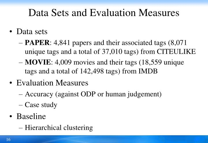 Data Sets and Evaluation Measures