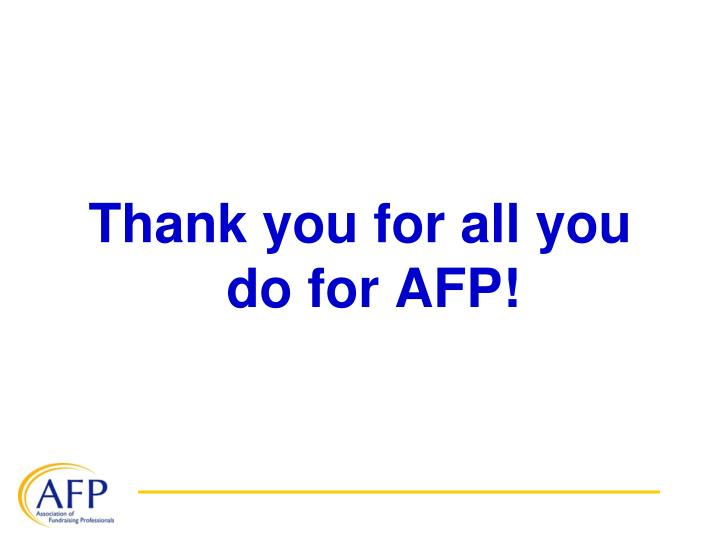 Thank you for all you do for AFP!