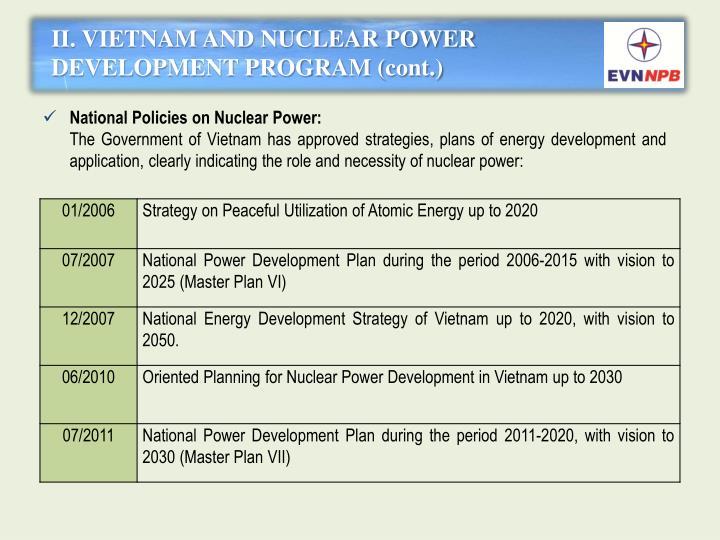 II. VIETNAM AND NUCLEAR POWER DEVELOPMENT PROGRAM (cont.)