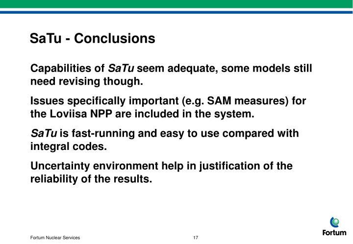 SaTu - Conclusions