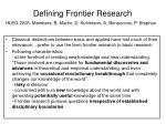 defining frontier research
