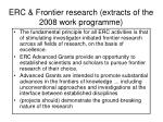 erc frontier research extracts of the 2008 work programme
