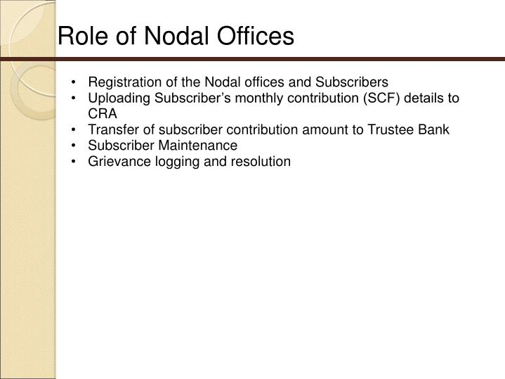 Role of Nodal Offices