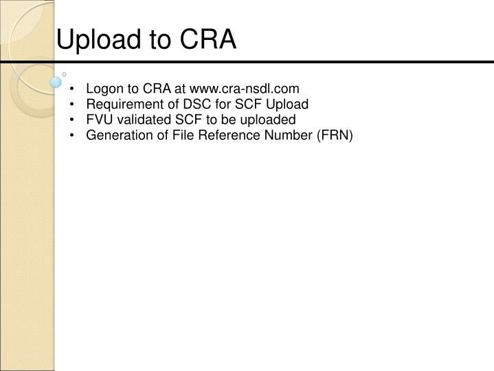 Logon to CRA at www.cra-nsdl.com