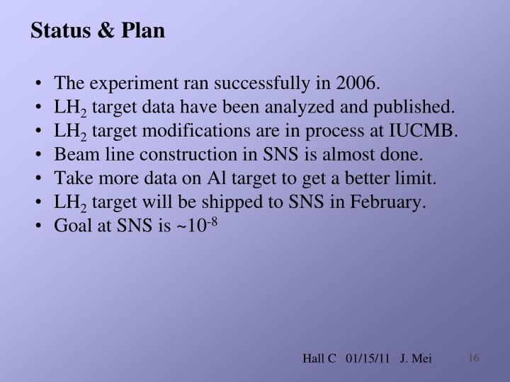 Status & Plan