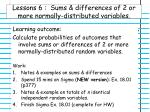 lessons 6 sums differences of 2 or more normally distributed variables