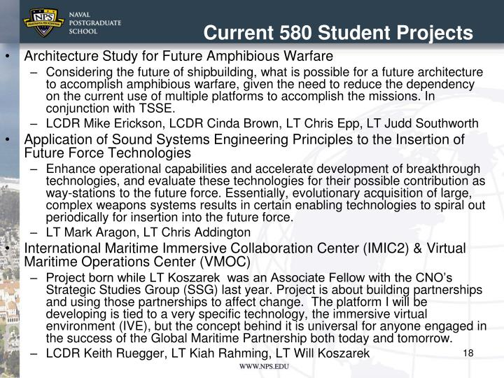 Current 580 Student Projects