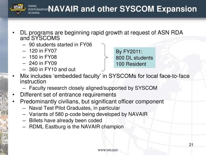 NAVAIR and other SYSCOM Expansion