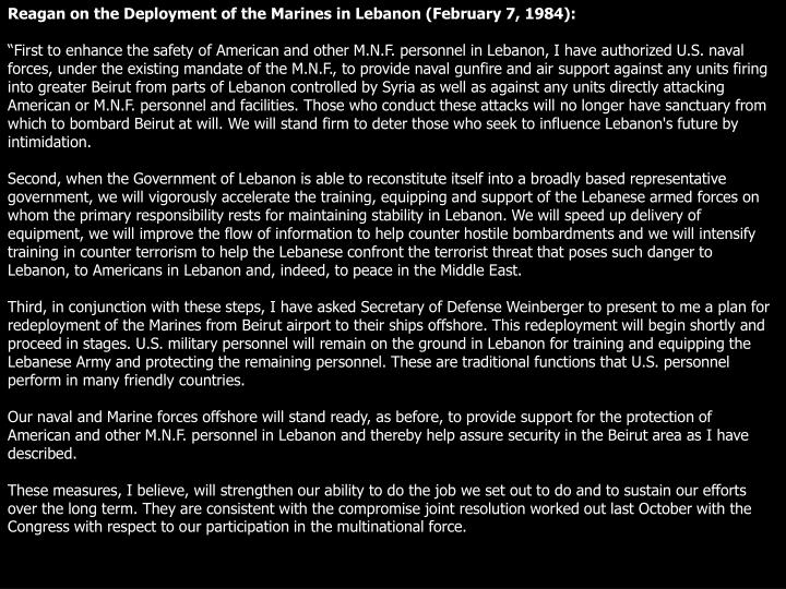 Reagan on the Deployment of the Marines in Lebanon (February 7, 1984):