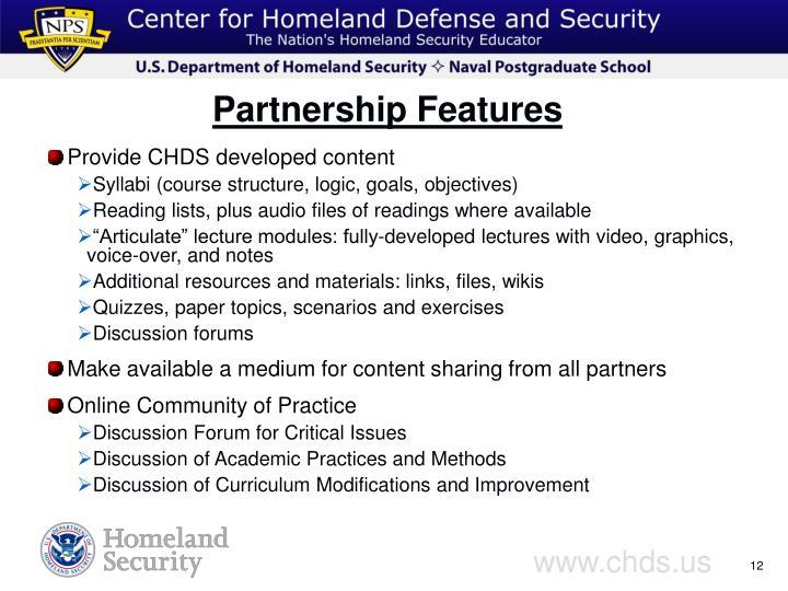 Provide CHDS developed content