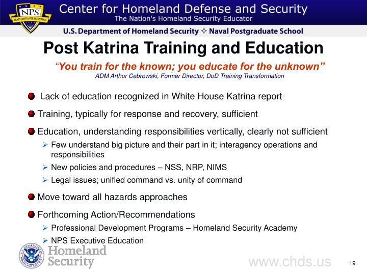 Post Katrina Training and Education