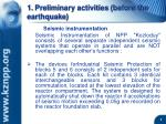 1 preliminary activities before the earthquake
