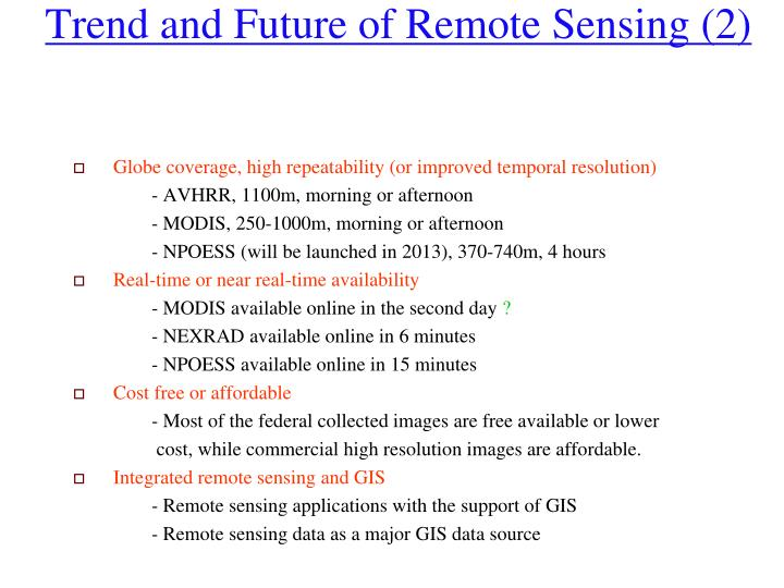 Trend and Future of Remote Sensing (2)