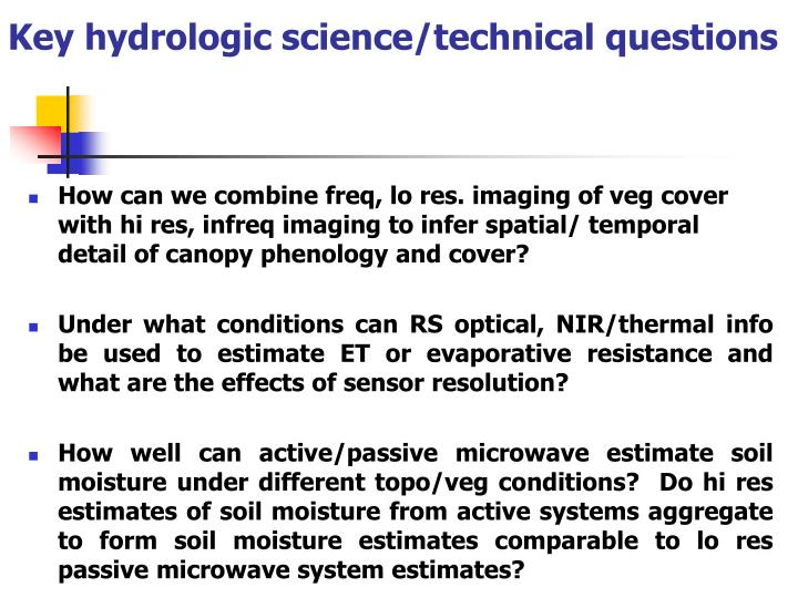 Key hydrologic science/technical questions