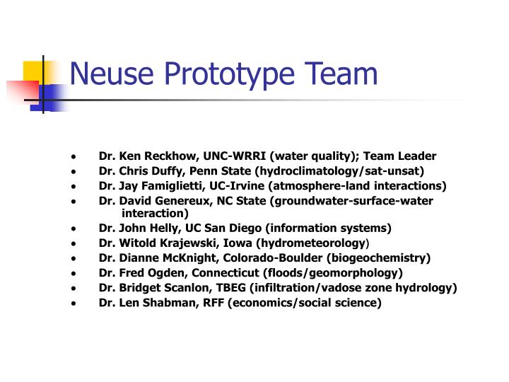 Neuse prototype team