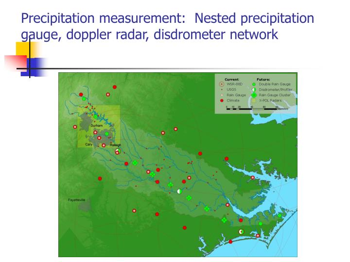 Precipitation measurement:  Nested precipitation gauge, doppler radar, disdrometer network