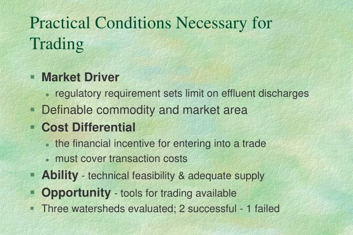 Practical Conditions Necessary for Trading