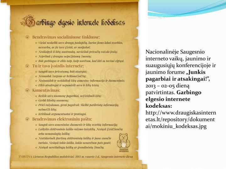 Nacionalinėje Saugesnio interneto vaikų, jaunimo ir suaugusiųjų konferencijoje ir jaunimo forume