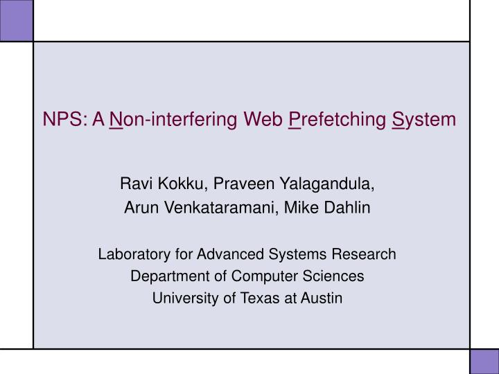 Nps a n on interfering web p refetching s ystem