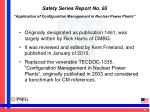 safety series report no 65 application of configuration management in nuclear power plants1