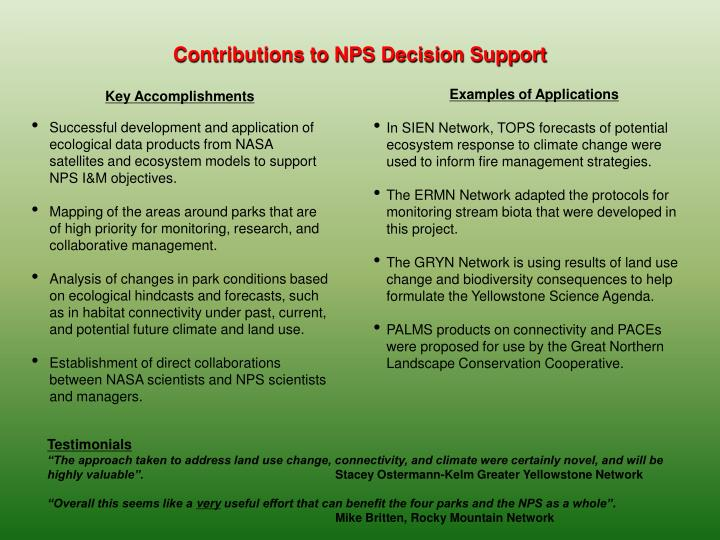 Contributions to NPS Decision Support