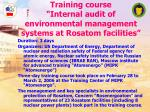 training course internal audit of environmental management systems at rosatom facilities