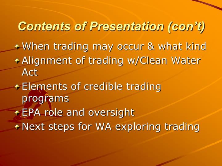 Contents of presentation con t