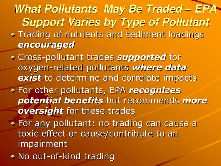 Trading of nutrients and sediment loadings