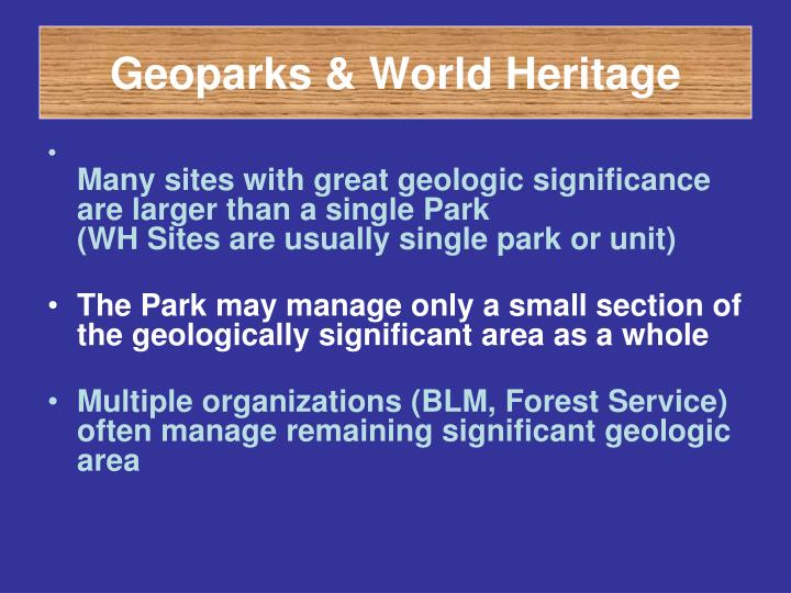 Geoparks & World Heritage