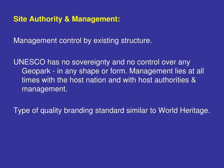 Site Authority & Management: