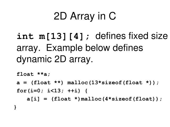 2D Array in C