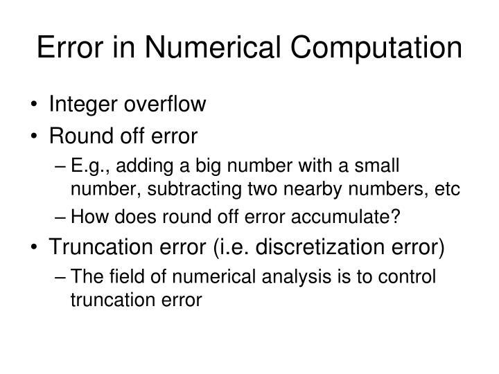 Error in Numerical Computation
