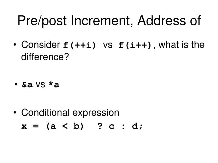 Pre/post Increment, Address of