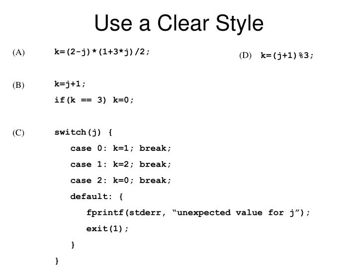 Use a Clear Style