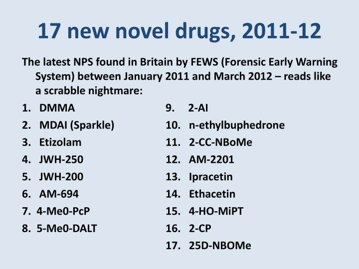 17 new novel drugs, 2011-12
