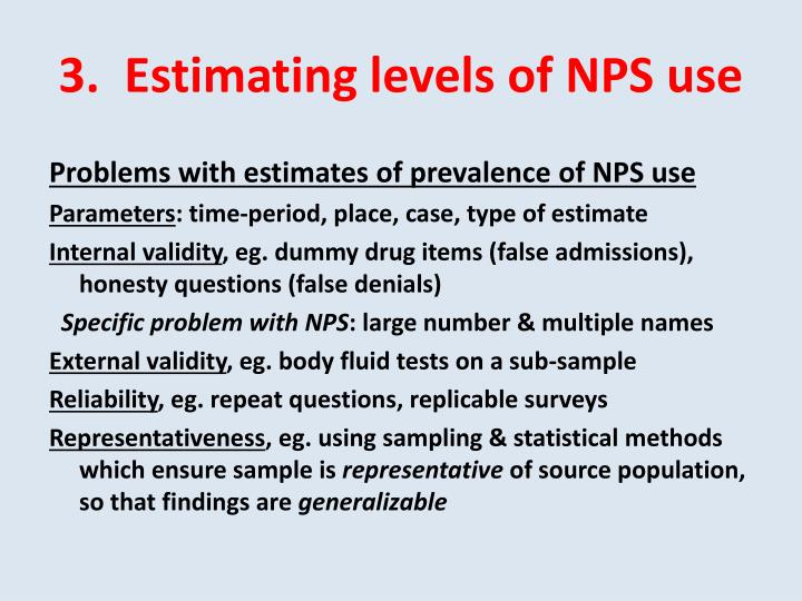 3.  Estimating levels of NPS use