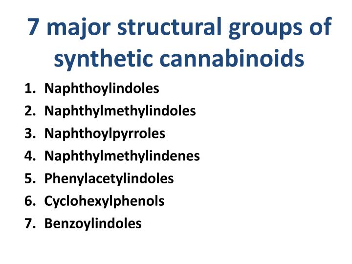 7 major structural groups of synthetic cannabinoids