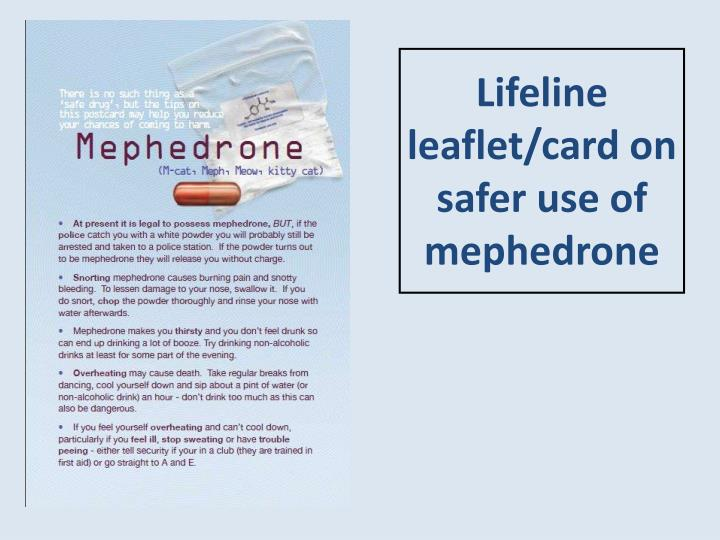 Lifeline leaflet/card on safer use of mephedrone