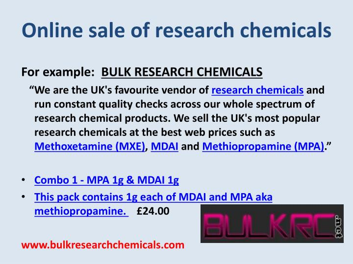 Online sale of research chemicals