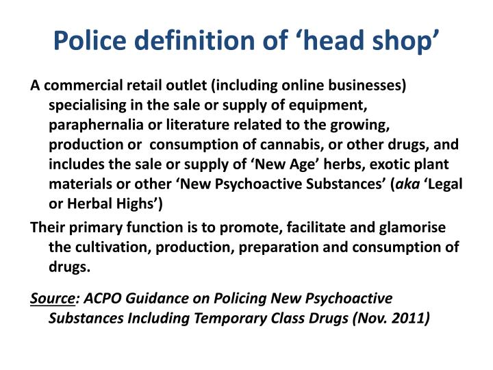 Police definition of 'head shop'