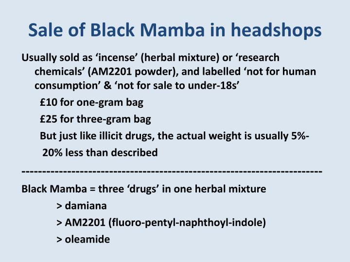 Sale of Black Mamba in headshops