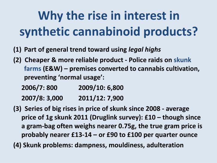 Why the rise in interest in synthetic cannabinoid products?