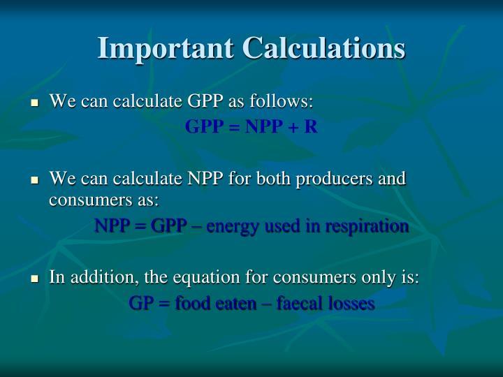 Important Calculations