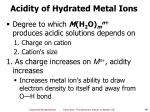 acidity of hydrated metal ions