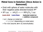 metal ions in solution once anion is removed