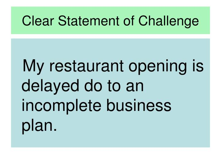 Clear Statement of Challenge