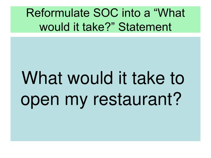 "Reformulate SOC into a ""What would it take?"" Statement"