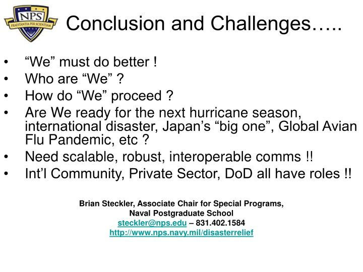 Conclusion and Challenges…..