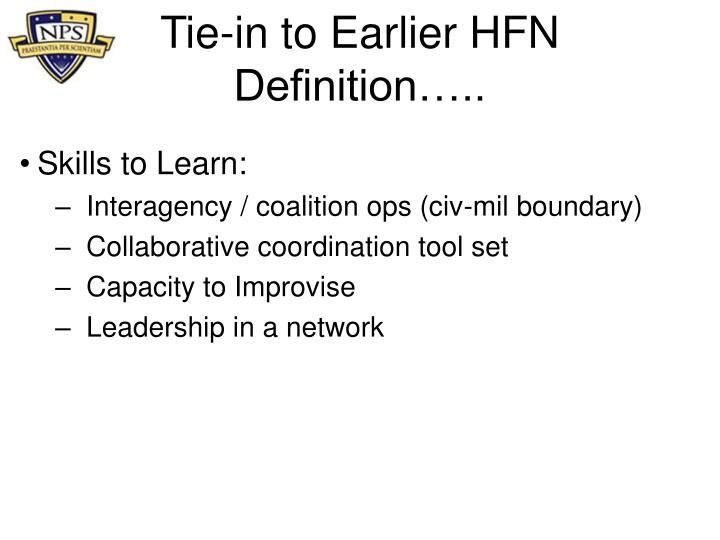 Tie-in to Earlier HFN Definition…..