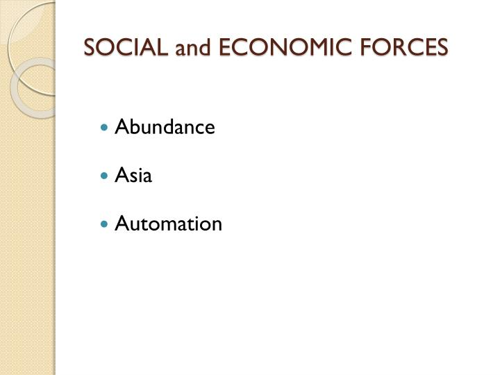 SOCIAL and ECONOMIC FORCES